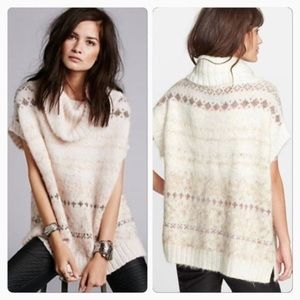 Free People Snow Bunny Cowl Poncho Wool Blend Size Small